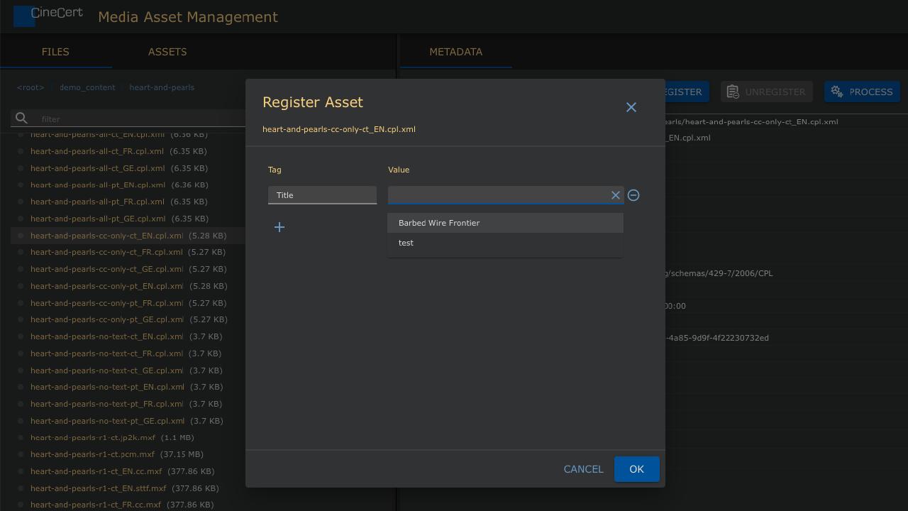 Pakanu Register Asset Dialog